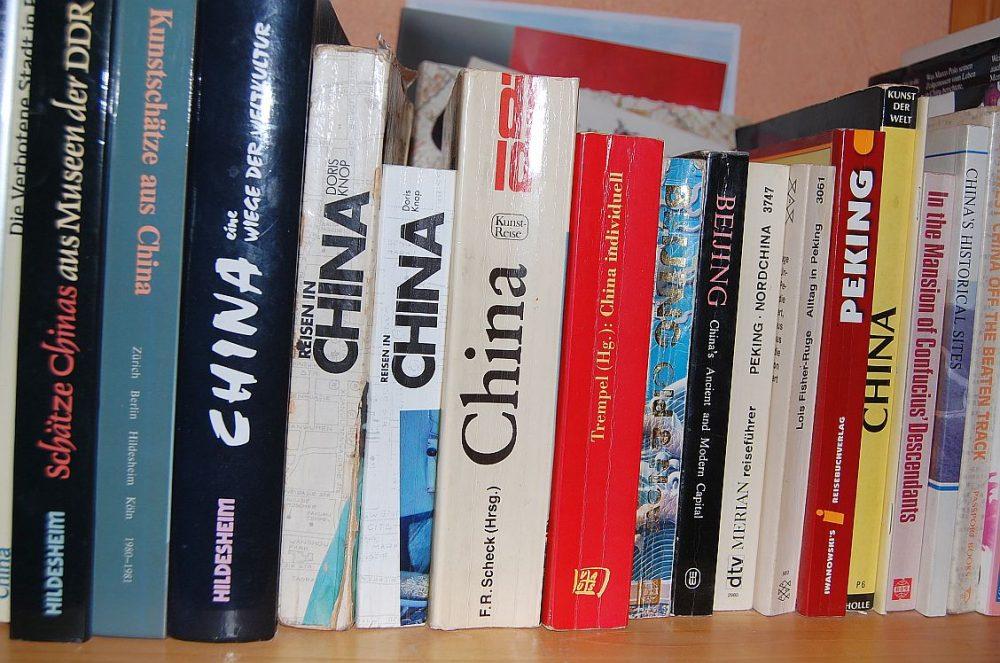 Einige der Reiseführer in meinem Bücherregal