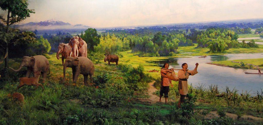 Diorama im Museum von Jinsha - mit Elefanten