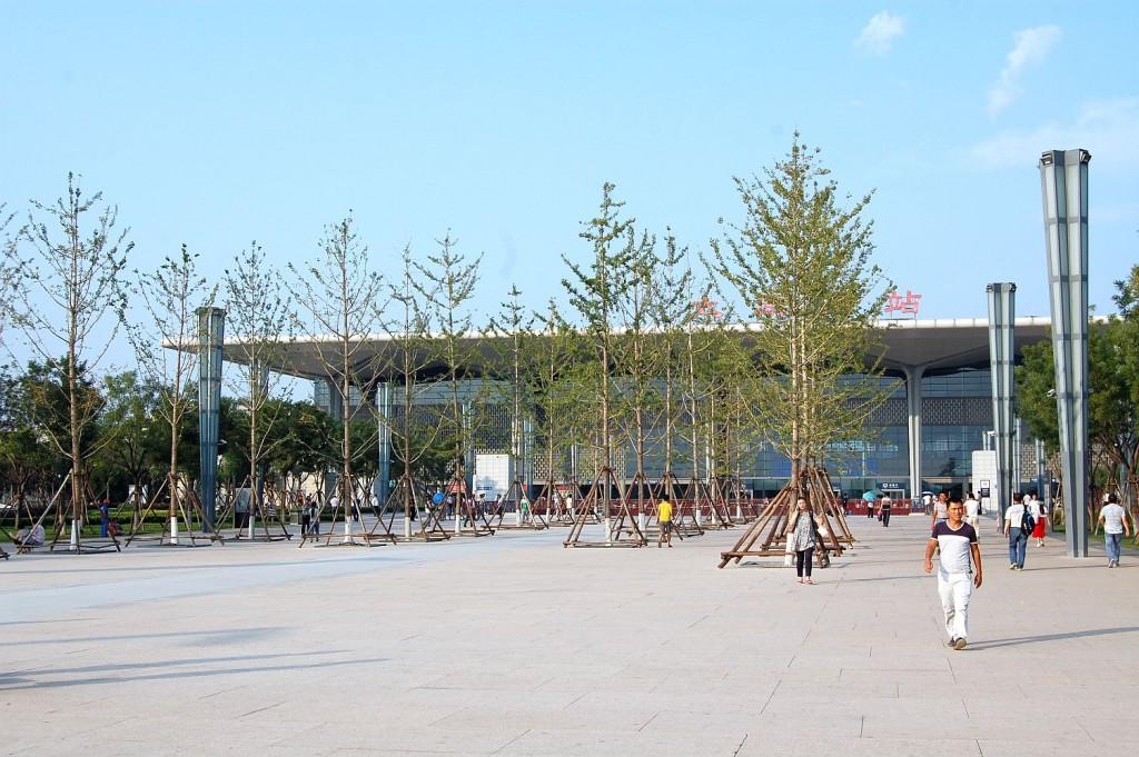 Der moderne Bahnhof in Taiyuan, extra für den Hochgeshwindigkeitszug gebaut