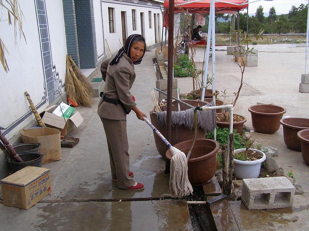 Diese Dame hält das WC sauber