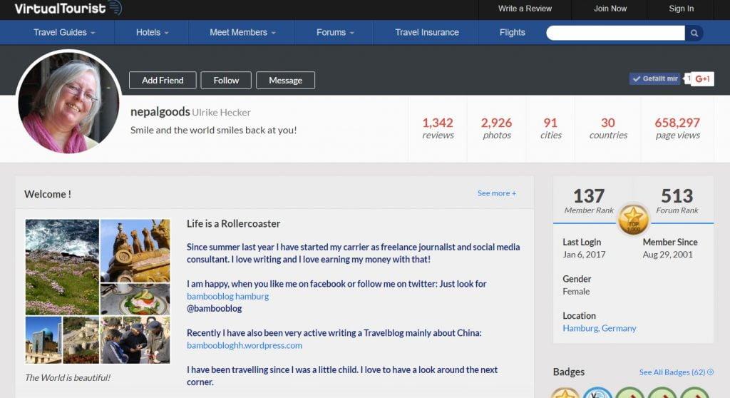 Virtualtourist Screenshot