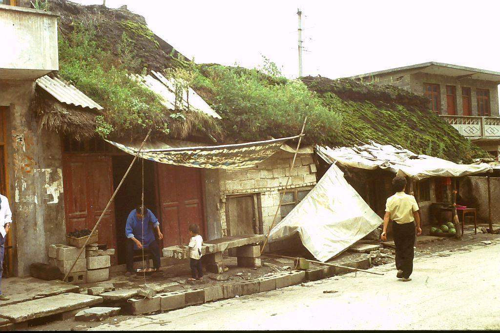 Südchina 1993: Dafang strohgedeckte Hütte